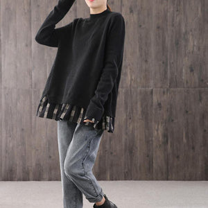 Fashion black knitted pullover oversize o neck knit sweat tops false two pieces