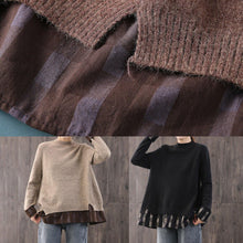 Load image into Gallery viewer, Fashion black knitted pullover oversize o neck knit sweat tops false two pieces