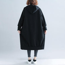Load image into Gallery viewer, Fashion black woolen outwear Loose fitting Winter woolen zippered outwear