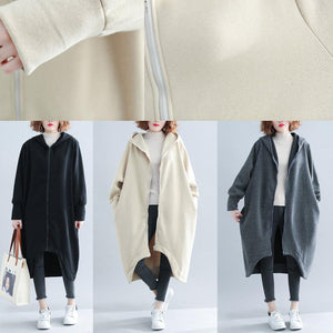 Fashion black woolen outwear Loose fitting Winter woolen zippered outwear