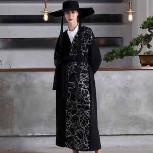 Fashion black woolen oversized long coat V neck embroidery outwear patchwork tie waist coats