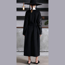 Load image into Gallery viewer, Fashion black woolen oversized long coat V neck embroidery outwear patchwork tie waist coats