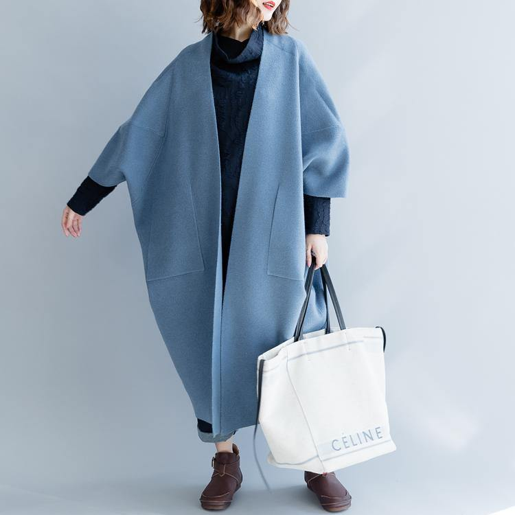 Fashion blue bat wig sleeve Coats trendy plus size O shape outwear trench coat Elegant big pockets long coat