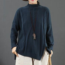 Load image into Gallery viewer, Fashion blue clothes For Women asymmetric hem Loose fitting half high neck sweaters