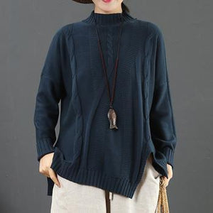 Fashion blue clothes For Women asymmetric hem Loose fitting half high neck sweaters