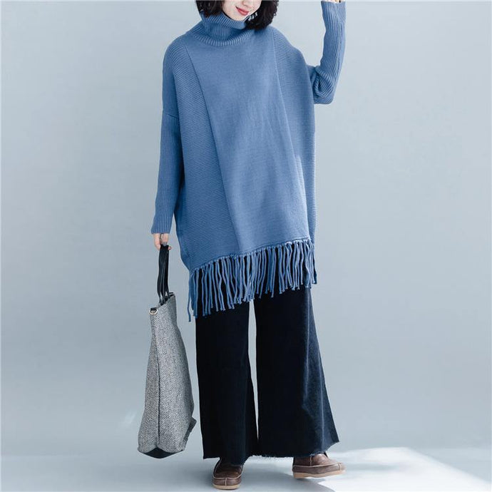 Fashion blue knit tops plus size clothing high neck knit sweat tops tassel