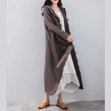 Load image into Gallery viewer, Fashion chocolate long coat Loose fitting hooded cardigans 2018 Chinese Button trench coat