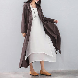 Fashion chocolate long coat Loose fitting hooded cardigans 2018 Chinese Button trench coat