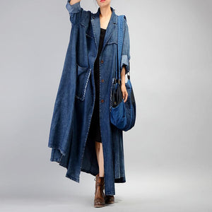 Fashion denim blue coat for woman plus size long coat Notched patchwork pockets coats