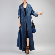 Load image into Gallery viewer, Fashion denim blue coat for woman plus size long coat Notched patchwork pockets coats