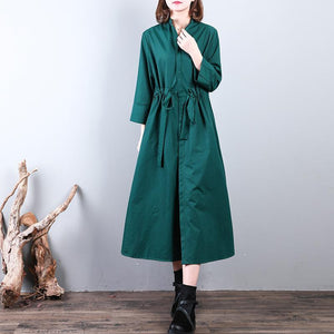 Fashion green  long coat plus size drawstring tunic Coats Fine stand collar coat