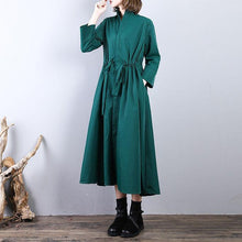 Load image into Gallery viewer, Fashion green  long coat plus size drawstring tunic Coats Fine stand collar coat