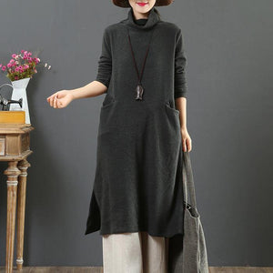 Fashion high neck Sweater side open outfits Beautiful dark gray slim Ugly sweater dresses