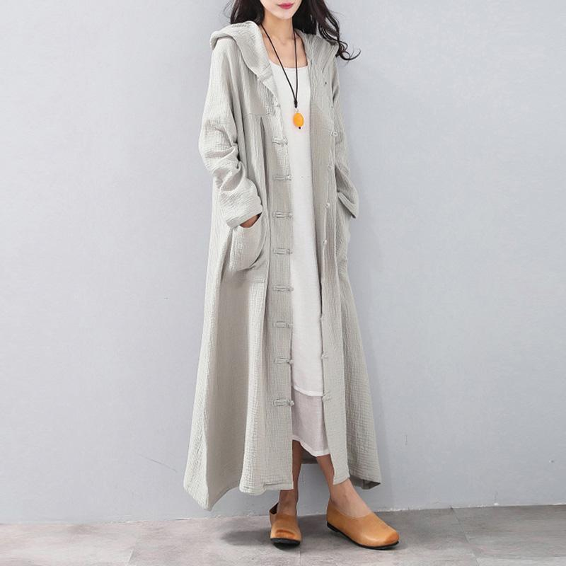 Fashion light gray maxi coat plus size clothing hooded cardigans Fine Chinese Button coats
