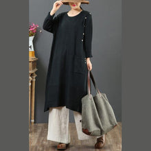 Load image into Gallery viewer, Fashion loose Sweater o neck weather plus size black Largo knit dresses