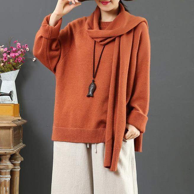 Fashion orange Sweater Blouse With scarf plus size o neck knitwear