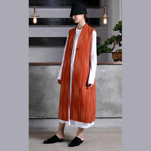 Load image into Gallery viewer, Fashion orange wool coat for woman Loose fitting Coats V neck embroider Sleeveless long coat