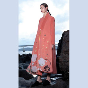 Fashion pink red wool coat plus size Coats V neck side open women coats embroider long coats