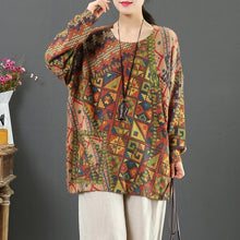 Load image into Gallery viewer, Fashion print four knit blouse wild Loose fitting o neck sweaters