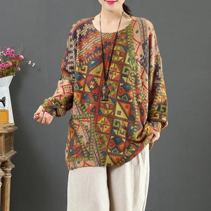 Fashion print four knit blouse wild Loose fitting o neck sweaters