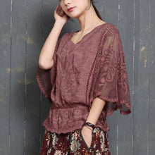 Laden Sie das Bild in den Galerie-Viewer, Fashion red o neck cotton hollow women batwing sleeve summer tops