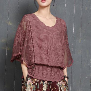 Fashion red o neck cotton hollow women batwing sleeve summer tops