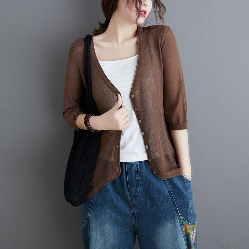 Fashion Chocolate Knit Top Silhouette V Neck Loose Fitting Knitwear