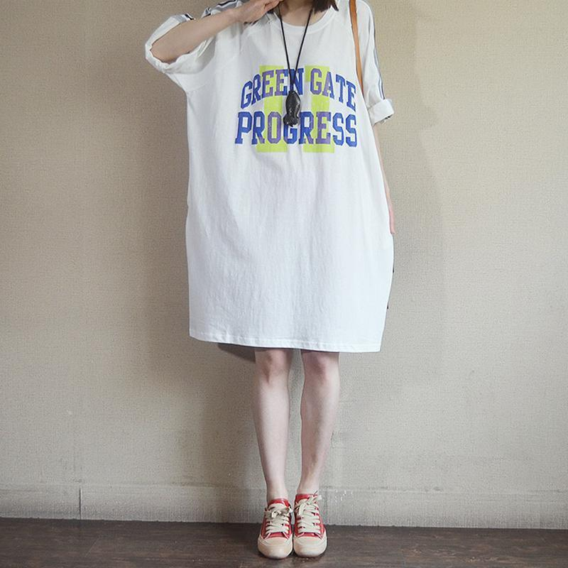 Fashion Casual Loose Letter Cotton Dress