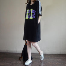 Load image into Gallery viewer, Fashion Casual Loose Letter Cotton Dress