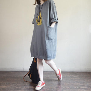 Fashion Round Neck Casual Printed Cotton Dress