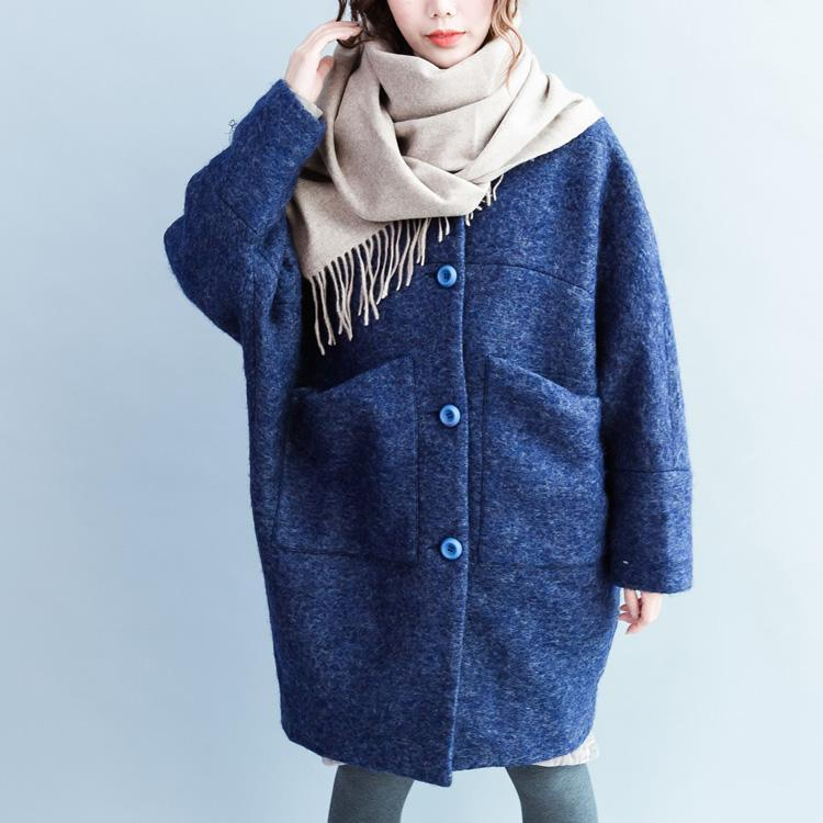Fashion blue O shape wool jackets casual spring coats 2018 spring coats