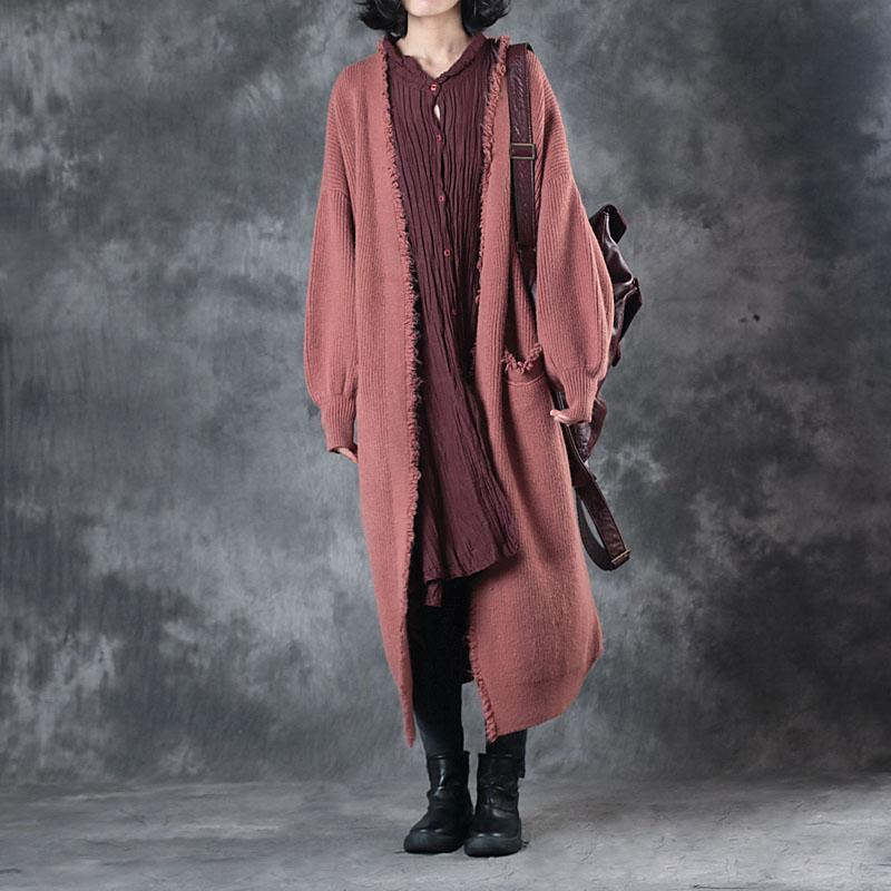 Fashion red sweater Coat Loose fitting cardigans Winter coat Fashion wool jackets