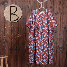 Load image into Gallery viewer, Feather Printed Casual Lacing Loose Dress