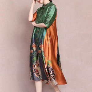 Female Literary Floral Printed Midi Dress