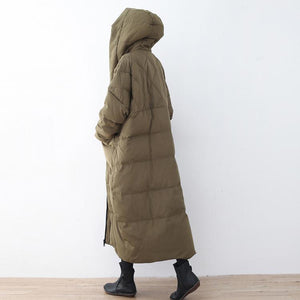 Fine army green winter long trendy plus size hooded zippered Luxury pockets baggy coats