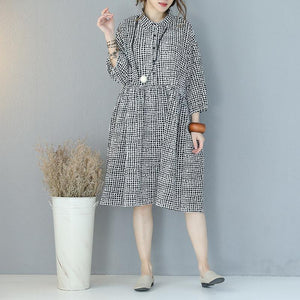 Fine black Plaid wrinkled cotton dress plus size turn-down collar long sleeve gown vintage baggy dresses