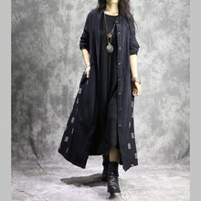 Load image into Gallery viewer, Fine black coat for woman casual Winter coat print patchwork coat