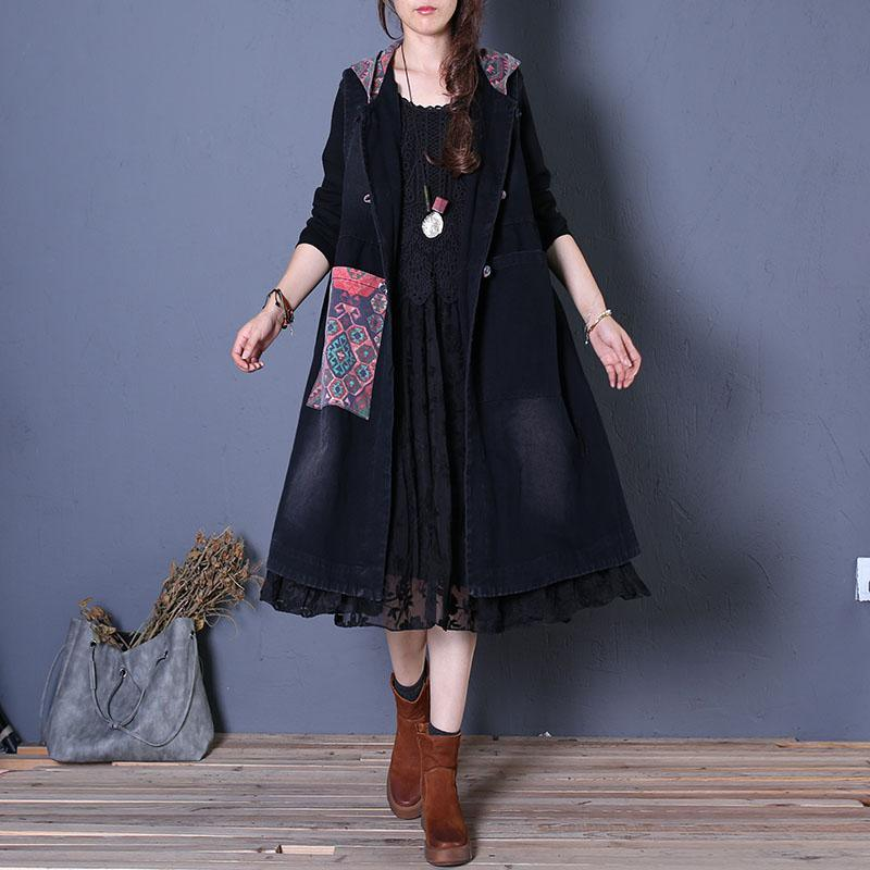 Fine black coats oversized maxi coat fall women coats patchwork hooded