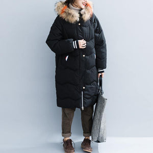 Fine black cotton coats plus size hooded fur collar Parka New pockets zippered cotton coats