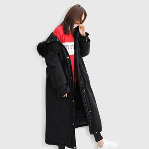 Fine black down jacket woman trendy plus size hooded snow jackets tie cuff sleeve coats