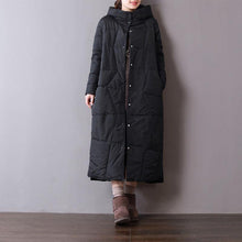 Laden Sie das Bild in den Galerie-Viewer, Fine black parkas oversized hooded cotton jacket Fine pockets winter coats