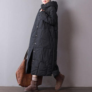 Fine black parkas oversized hooded cotton jacket Fine pockets winter coats