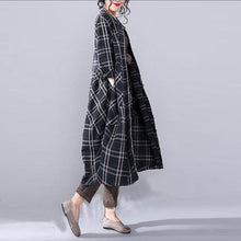 Load image into Gallery viewer, Fine black plaid linen fall coat oversize o neck Coats 2018 pockets linen Coats