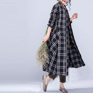 Fine black plaid linen fall coat oversize o neck Coats 2018 pockets linen Coats