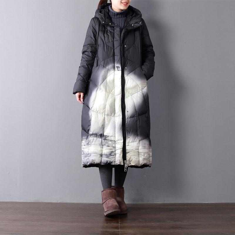Fine black print duck down coat oversize hooded winter zippered down overcoat