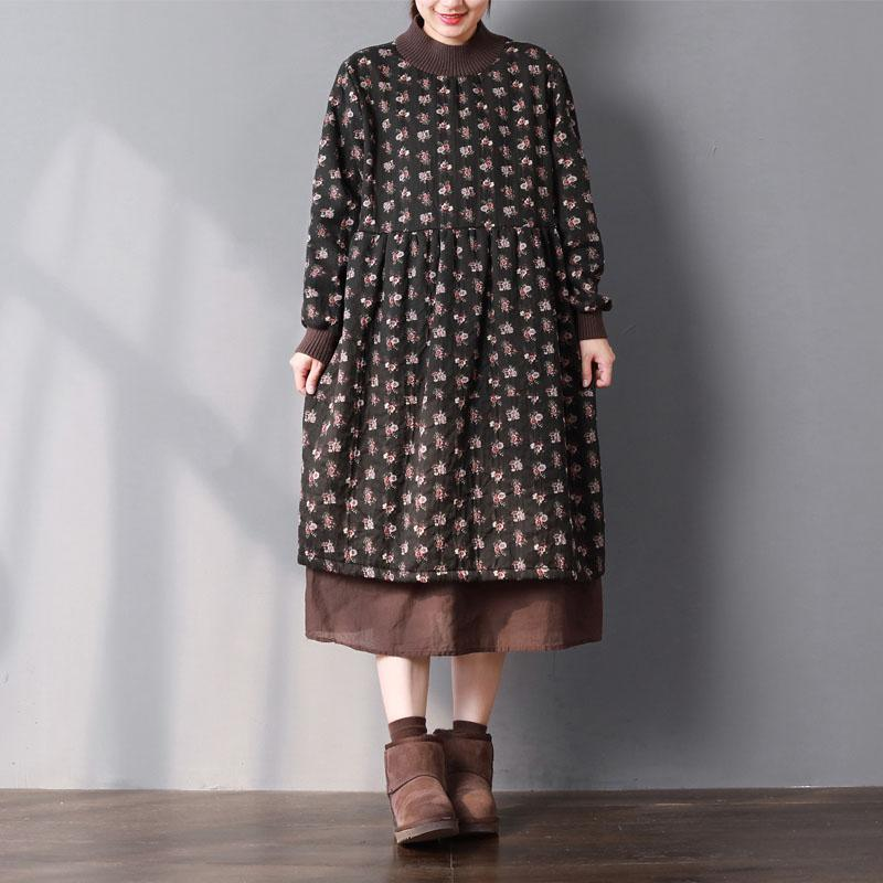 Fine black print spring dress Loose fitting gown patchwork O neck thick traveling large hem dress