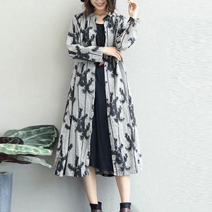 Fine black prints 2018 fall dress Loose fitting lapel collar gown 2018 shirt dress