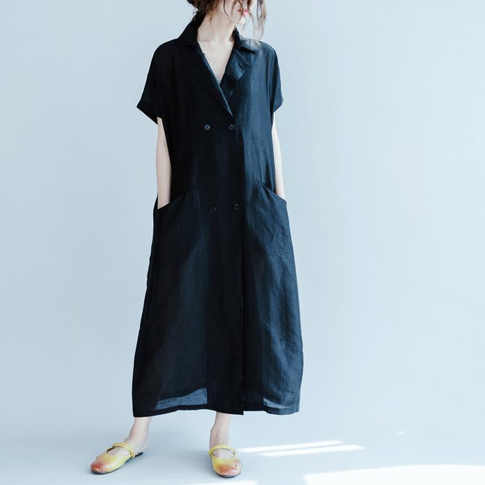 Fine black silk blended dress plus size clothing Turn-down Collar pockets silk blended dresses New short sleeve baggy dresses