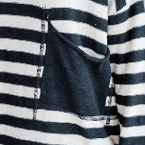 Fine black striped cotton tops Loose fitting cotton clothing blouses Elegant o neck big pockets natural cotton pullover
