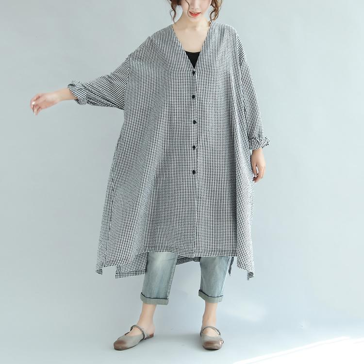 Fine black white Plaid cotton blended caftans plus size clothing v neck tie waist gown Fine long sleeve baggy dresses